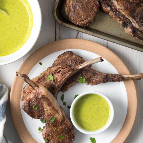 lamb chops recipe jamaican Caribbean Grilled Lamb Chops with Wasakaka