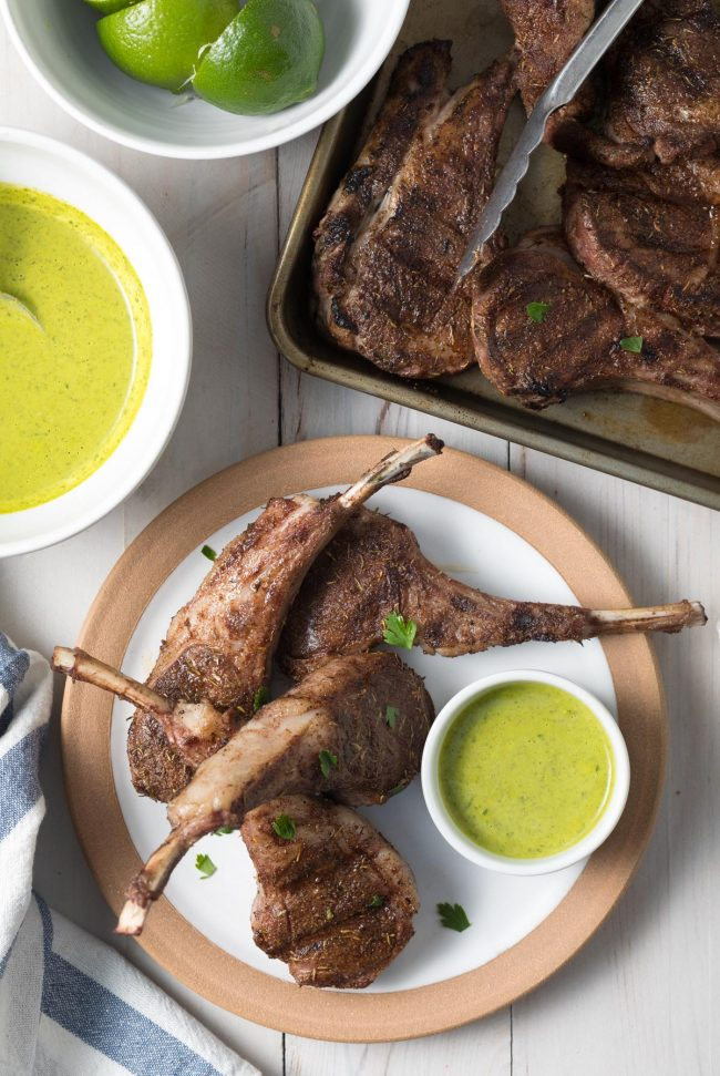 Easy Caribbean Grilled Lamb Chops with Wasakaka Sauce Recipe #ASpicyPerspective #keto #paleo #lowcarb #glutenfree