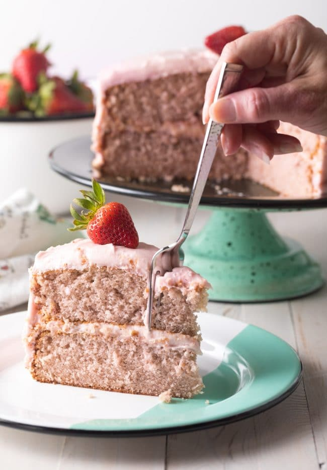Best Homemade Strawberry Cake Recipe #ASpicyPerspective #cake #strawberry #strawberries #easter #july4th