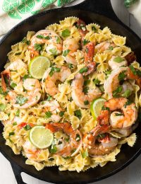 Cilantro Lime Shrimp Pasta Recipe (Stovetop or Instant Pot!) #ASpicyPerspective #instantpot #pressurecooker #onepot #pasta #shrimp