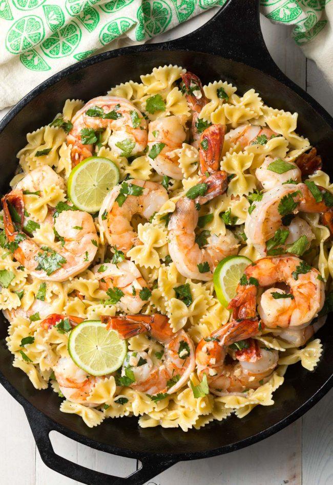 Cilantro Lime Shrimp Pasta Recipe (Stovetop or Instant Pot!) #ASpicyPerspective #instantpot #pressurecooker #onepot #pasta #shrimp