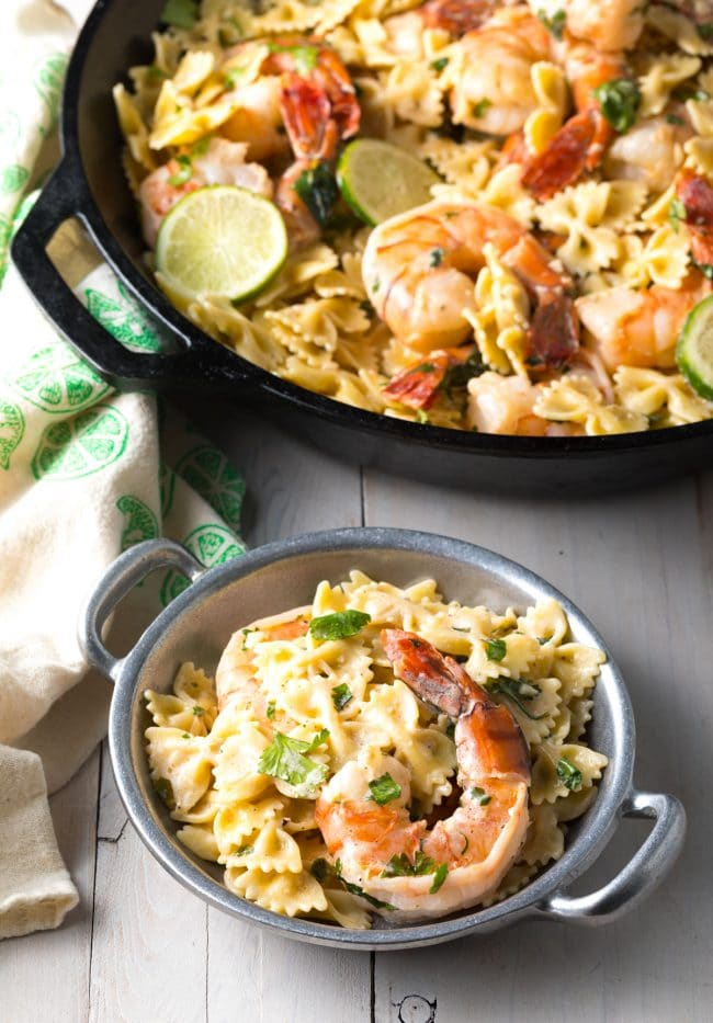 Garlic Lime Shrimp Pasta Recipe (Stovetop or Instant Pot!) #ASpicyPerspective #instantpot #pressurecooker #onepot #pasta #shrimp