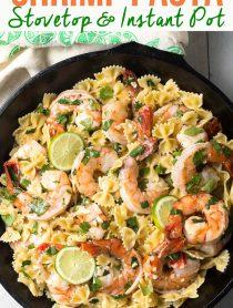 Island Cilantro Lime Shrimp Pasta Recipe (Stovetop or Instant Pot!) #ASpicyPerspective #instantpot #pressurecooker #onepot #pasta #shrimp