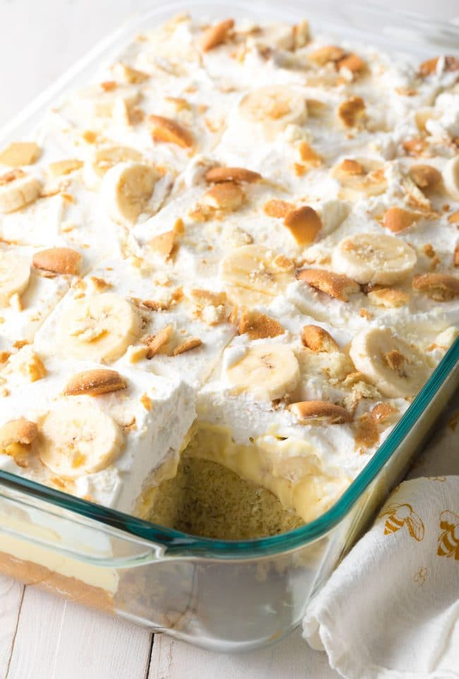 Fluffy Layered Banana Pudding Bake Recipe #ASpicyPerspective #easter #bananacake #spring #potluck #picnic