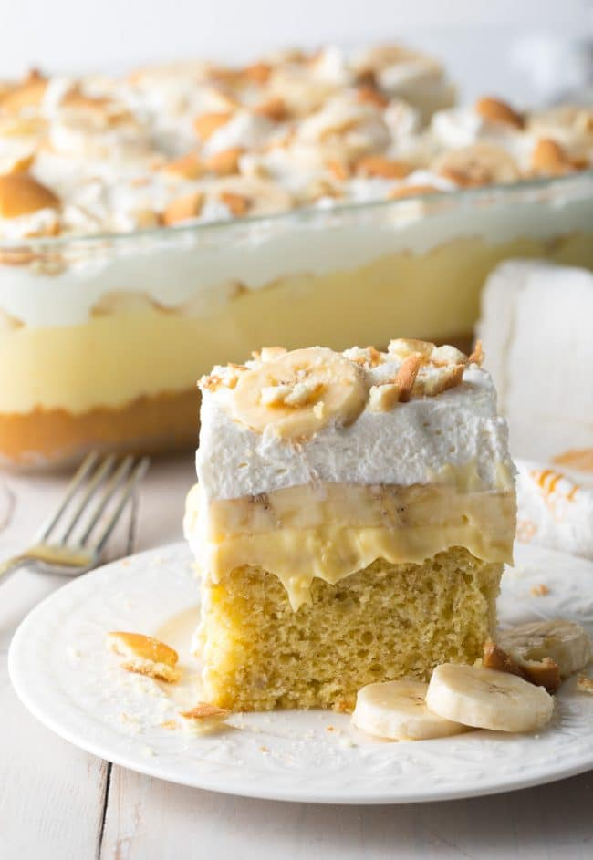 Easy Layered Banana Pudding Bake Recipe #ASpicyPerspective #easter #bananacake #spring #potluck #picnic
