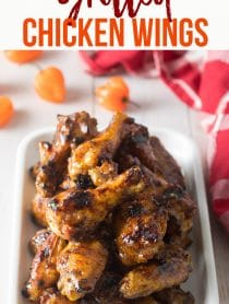 Best Habanero Peach Grilled Chicken Wings Recipe #ASpicyPerspective #grilled #wings #chicken #grilling #peach