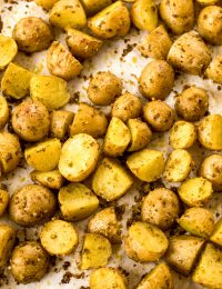 Easy 2-Ingredient Oven Roasted Potatoes Recipe #ASpicyPerspective #potato #glutenfree #side #sidedish #roasted