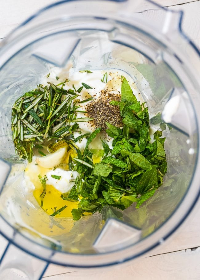 Creamy Yogurt Herb Dressing #ASpicyPerspective #kale #chickpea #beets #wholefoods