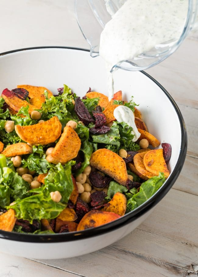 Easy Roasted Beet Chickpea Kale Salad with Creamy Yogurt Herb Dressing #ASpicyPerspective #kale #chickpea #beets #wholefoods
