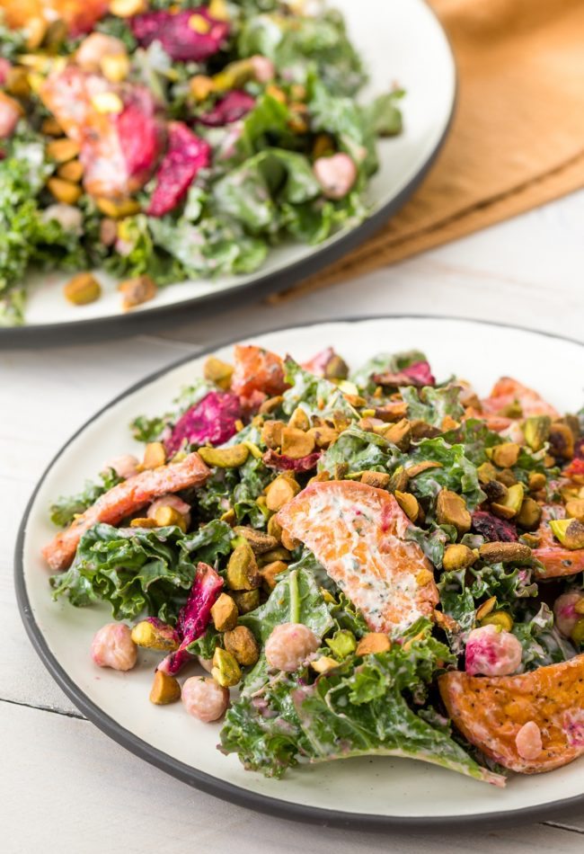 Chickpea Kale Salad with Creamy Yogurt Herb Dressing #ASpicyPerspective #kale #chickpea #beets #wholefoods
