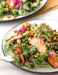 Roasted Beet Chickpea Kale Salad with Creamy Yogurt Herb Dressing #ASpicyPerspective #kale #chickpea #beets #wholefoods
