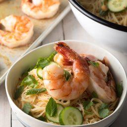 Healthy Vietnamese Fresh Spring Roll Bowls Recipe #ASpicyPerspective #shrimp #glutenfree #rice #vietnamese