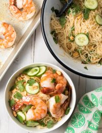 Vietnamese Fresh Spring Roll Bowls Recipe #ASpicyPerspective #shrimp #glutenfree #rice #vietnamese