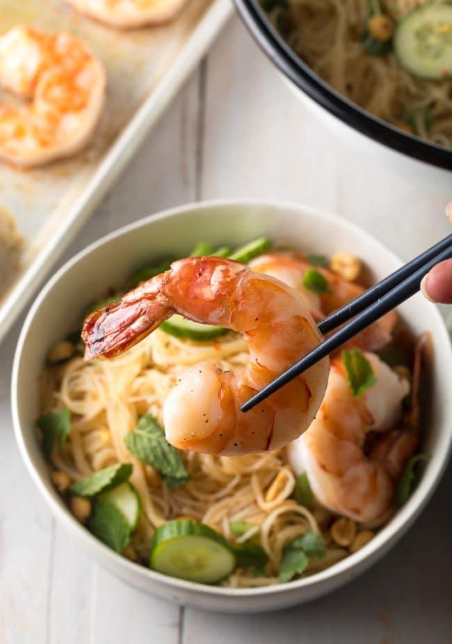 Vietnamese Spring Roll Bowls Recipe #ASpicyPerspective #shrimp #glutenfree #rice #vietnamese