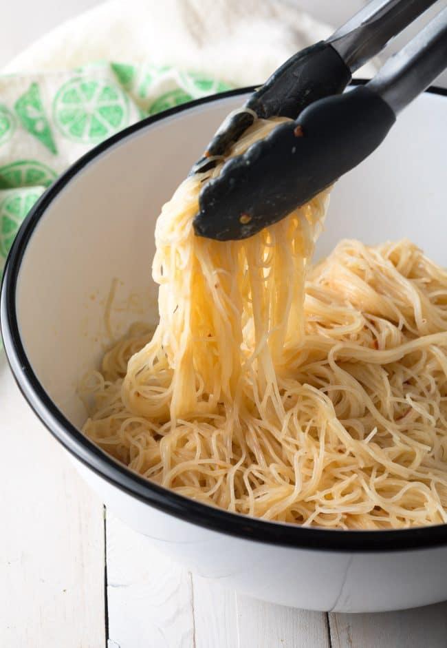 Easy Vietnamese Spring Roll Bowls Recipe #ASpicyPerspective #shrimp #glutenfree #rice #vietnamese
