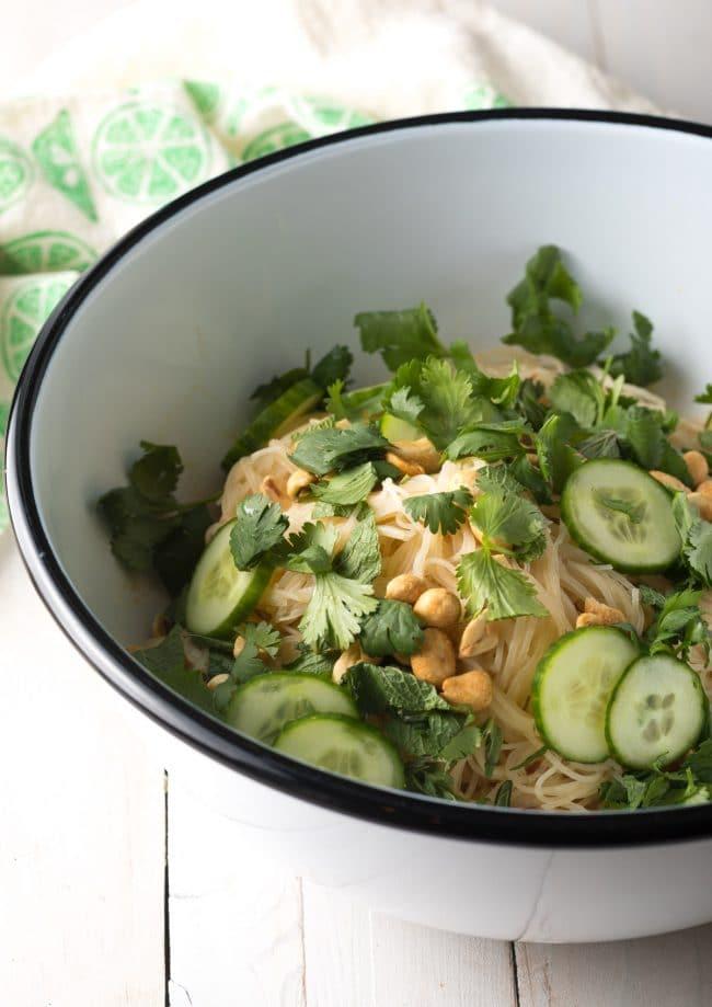 Vietnamese Cold Spring Roll Bowls Recipe #ASpicyPerspective #shrimp #glutenfree #rice #vietnamese