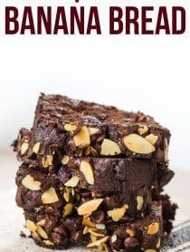 Easy Chunky Chocolate Banana Bread Recipe #ASpicyPerspective #chocolate #banana #coconut #almond #hawaiian #coffee