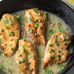 Crispy Chicken Piccata Recipe #ASpicyPerspective #paleo #glutenfree #keto #chicken #lemon
