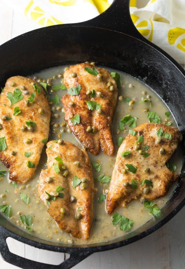 Skillet chicken piccata