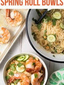 Vietnamese Fresh Spring Roll Bowls Recipe #ASpicyPerspective #shrimp #glutenfree #rice #vietnamese