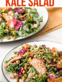 Chunky Roasted Beet Chickpea Kale Salad with Creamy Yogurt Herb Dressing #ASpicyPerspective #kale #chickpea #beets #wholefoods