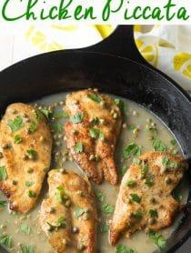 Best Crispy Chicken Piccata Recipe #ASpicyPerspective #paleo #glutenfree #keto #chicken #lemon