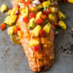 Sweet and Sour Grilled Salmon with Pineapple Salsa Recipe #ASpicyPerspective #paleo #healthy #baked #grilled