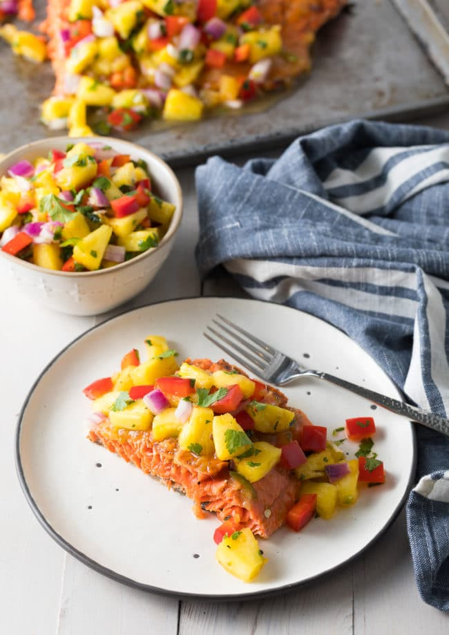 Easy Grilled or Baked Salmon with Pineapple Salsa Recipe #ASpicyPerspective #paleo #healthy #baked #grilled