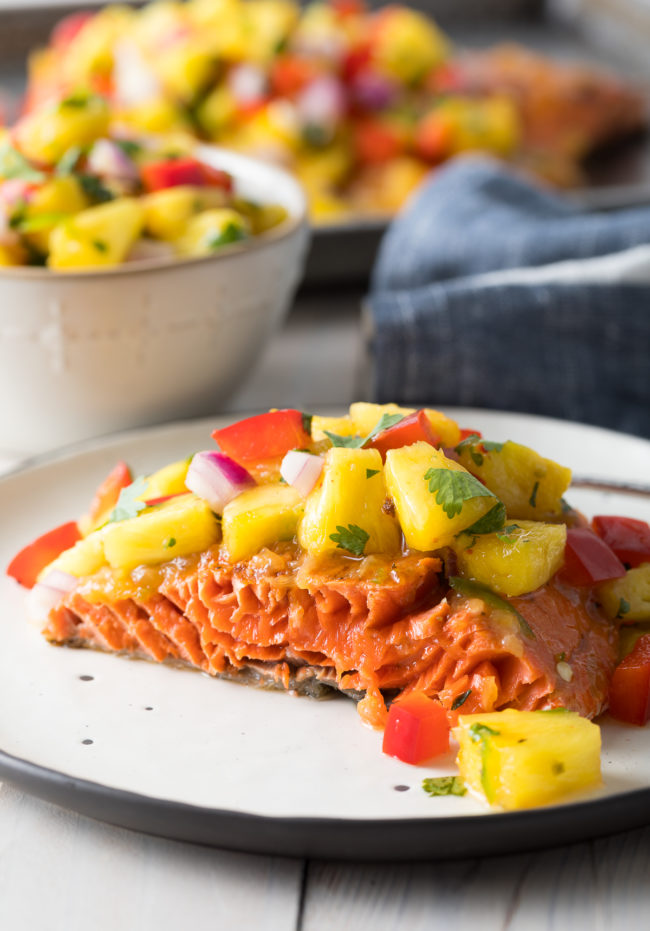 Easy Sweet and Sour Grilled Salmon with Pineapple Salsa Recipe #ASpicyPerspective #paleo #healthy #baked #grilled