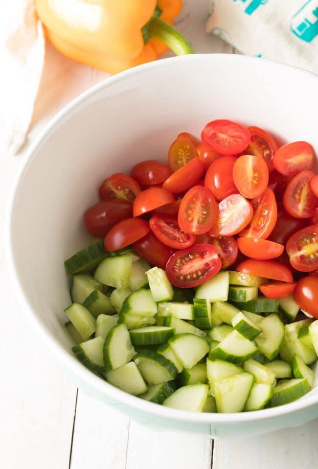 Greek Horiatiki (Village Salad) Recipe #ASpicyPerspective #greek #salad #glutenfree #lowcarb #keto #vegetarian