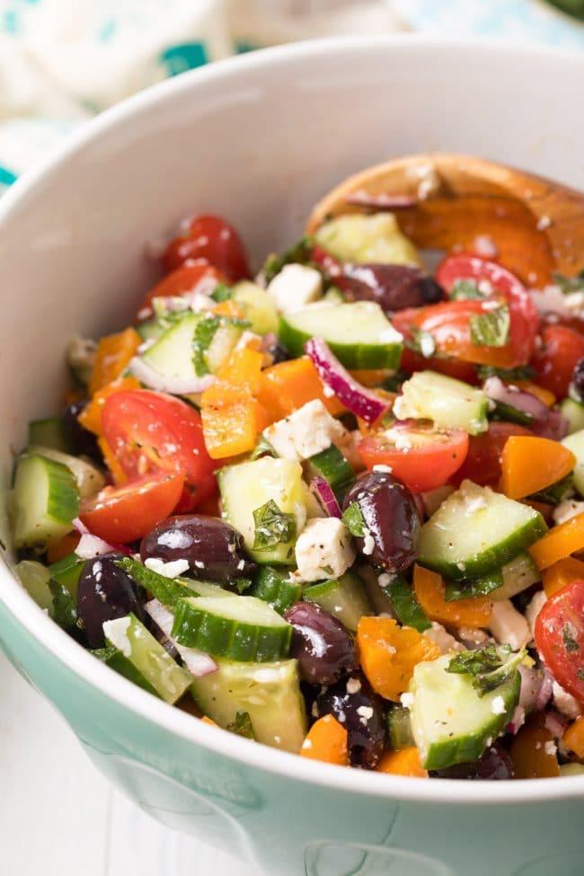 Perfect Greek Horiatiki (Village Salad) Recipe #ASpicyPerspective #greek #salad #glutenfree #lowcarb #keto #vegetarian