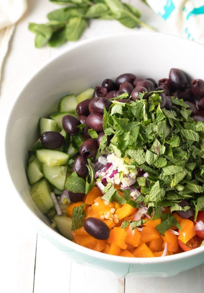 Easy Greek Horiatiki (Village Salad) Recipe #ASpicyPerspective #greek #salad #glutenfree #lowcarb #keto #vegetarian