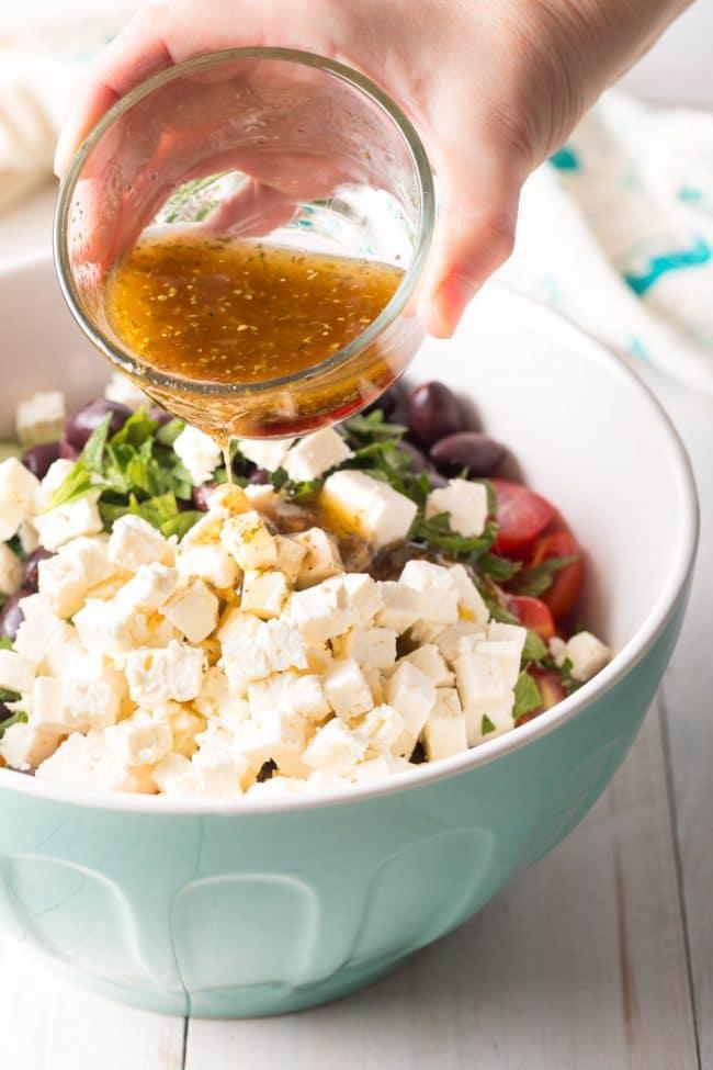 Best Greek Horiatiki (Village Salad) Recipe #ASpicyPerspective #greek #salad #glutenfree #lowcarb #keto #vegetarian