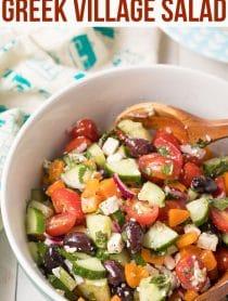 Amazing Horiatiki (Greek Village Salad) Recipe #ASpicyPerspective #greek #salad #glutenfree #lowcarb #keto #vegetarian