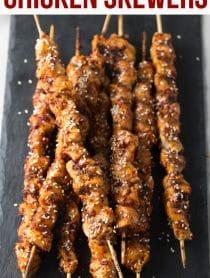 Korean Chicken Skewers Recipe #ASpicyPerspective #lowcarb #paleo #glutenfree #korean