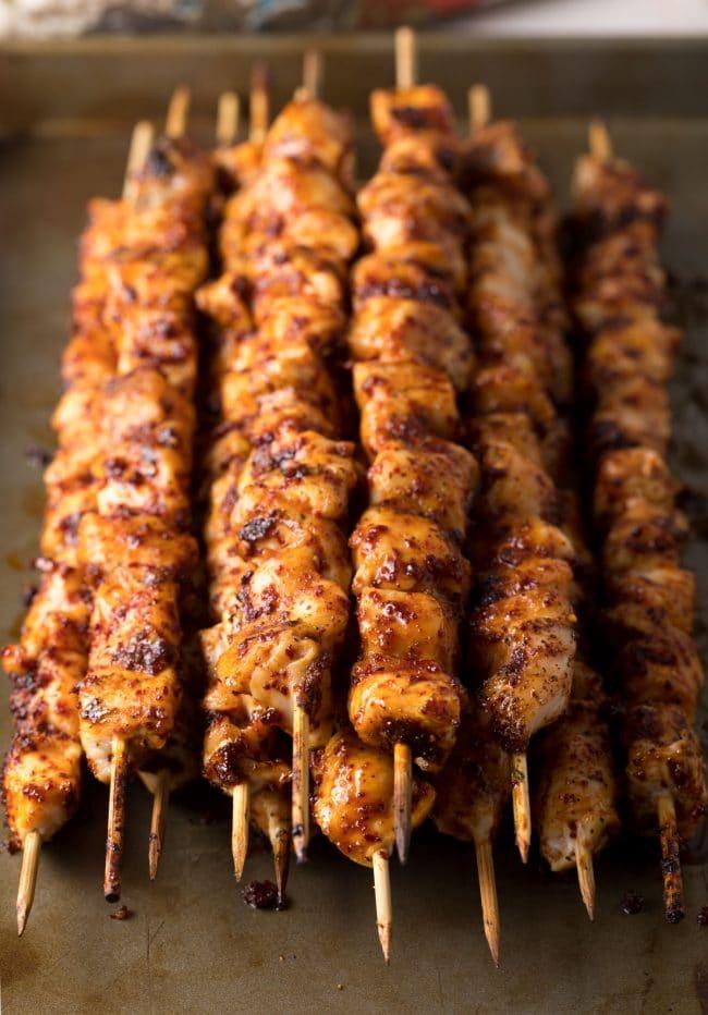 Easy Low Carb Korean Chicken Skewers Recipe #ASpicyPerspective #lowcarb #paleo #glutenfree #korean #kebabs #kabobs