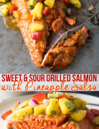 Amazing Sweet and Sour Grilled Salmon with Pineapple Salsa Recipe #ASpicyPerspective #paleo #healthy #baked #grilled