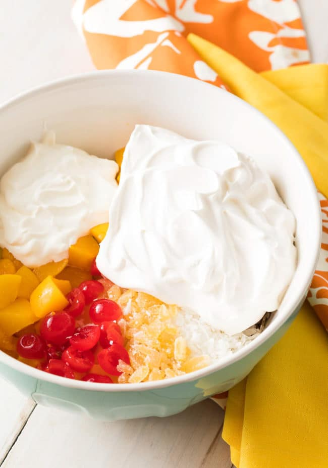 classic fruit salad with cool whip and sour cream