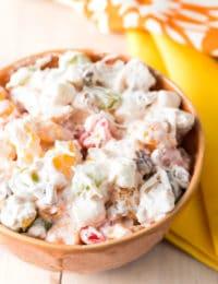 Grandma's Best Ambrosia Salad Recipe #ASpicyPerspective #ambrosia #marshmallow #fluff #summer