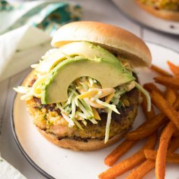 Caribbean Shrimp Burger Recipe #ASpicyPerspective #summer #shrimp #hamburger #burger