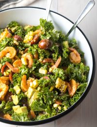 Healthy Mexican Salad with Chipotle Shrimp Recipe (+ Kale, Grilled Corn, Black Beans and Avocado!) #ASpicyPerspective #kalesalad #mexican #healthy