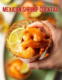 Easy Mexican Shrimp Cocktail Recipe #ASpicyPerspective #glutenfree #shrimp #cocktailsauce #party #appetizer #michelada