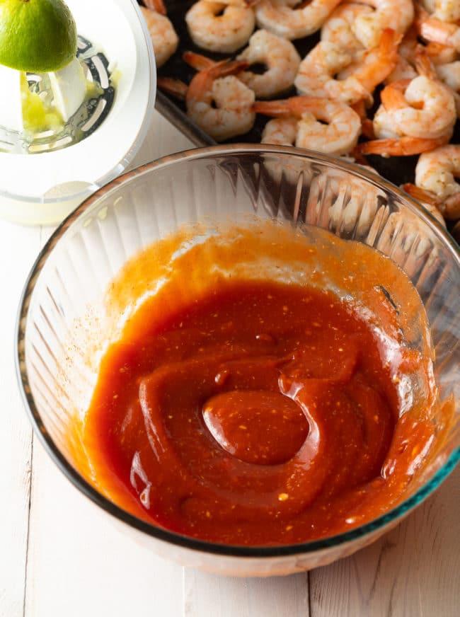 Best Shrimp Cocktail Sauce Recipe #ASpicyPerspective #lowcarb #shrimp #cocktailsauce #party #appetizer #michelada