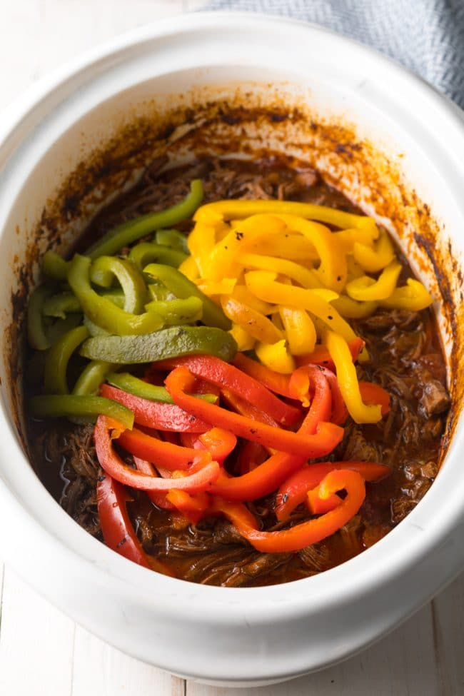 Add Peppers - Slow Cooker Ropa Vieja (Cuban Beef Recipe) #ASpicyPerspective #paleo #keto #glutenfree #lowcarb #cuban #beef