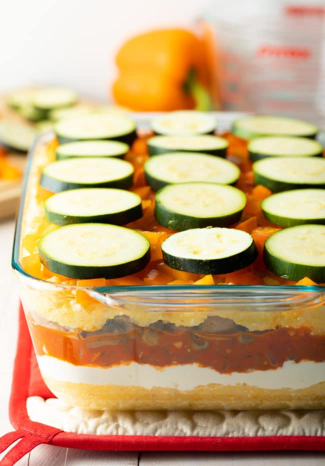 Easy Baked Polenta Recipe (Gluten Free) #ASpicyPerspective #glutenfree #polenta #lasagna #ricotta #vegetarian #healthy