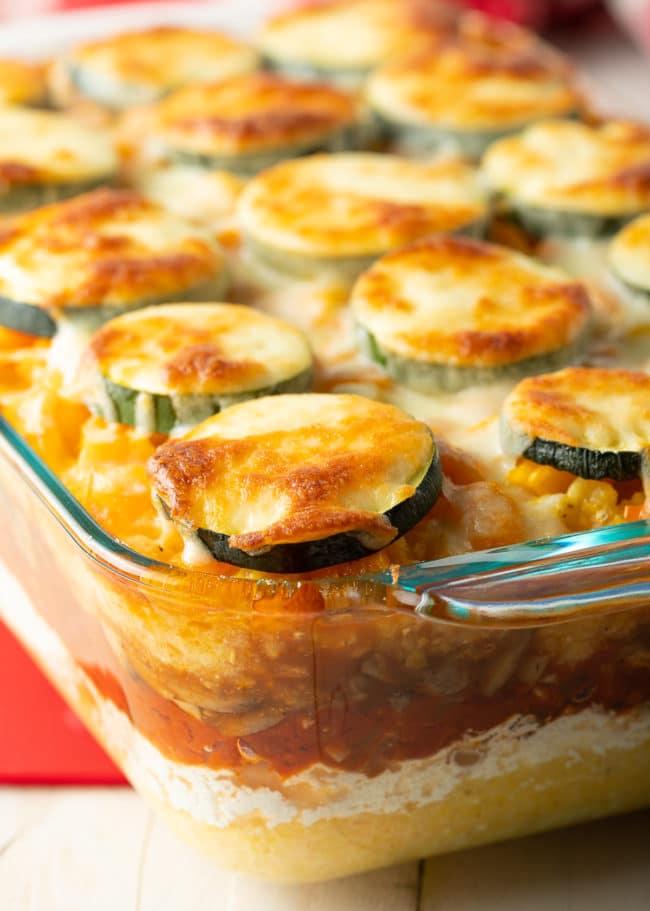 Polenta Bake Recipe (Gluten Free) #ASpicyPerspective #glutenfree #polenta #lasagna #ricotta #vegetarian #healthy