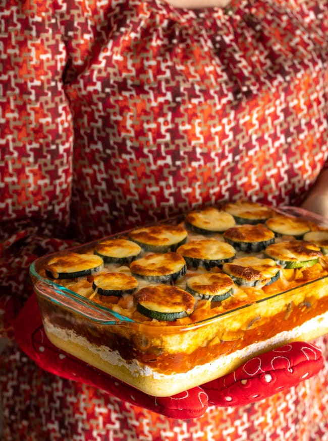 Baked Polenta Lasagna Recipe + Mushrooms, Tomatoes, Zucchini, and Ricotta! (Gluten Free) #ASpicyPerspective #glutenfree #polenta #lasagna #ricotta #vegetarian #healthy