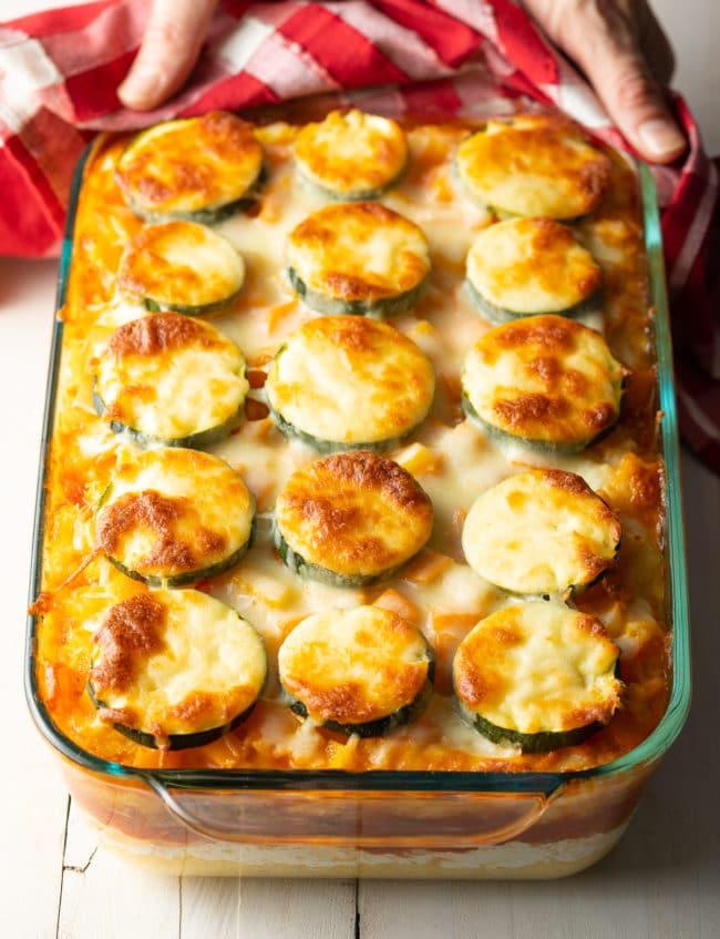Gluten Free Baked Polenta Recipe + Mushrooms, Tomatoes, Zucchini, and Ricotta! #ASpicyPerspective #glutenfree #polenta #lasagna #ricotta