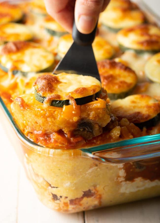 Best Baked Polenta Recipe + Mushrooms, Tomatoes, Zucchini, and Ricotta! (Gluten Free) #ASpicyPerspective #glutenfree #polenta #lasagna #ricotta #vegetarian #healthy
