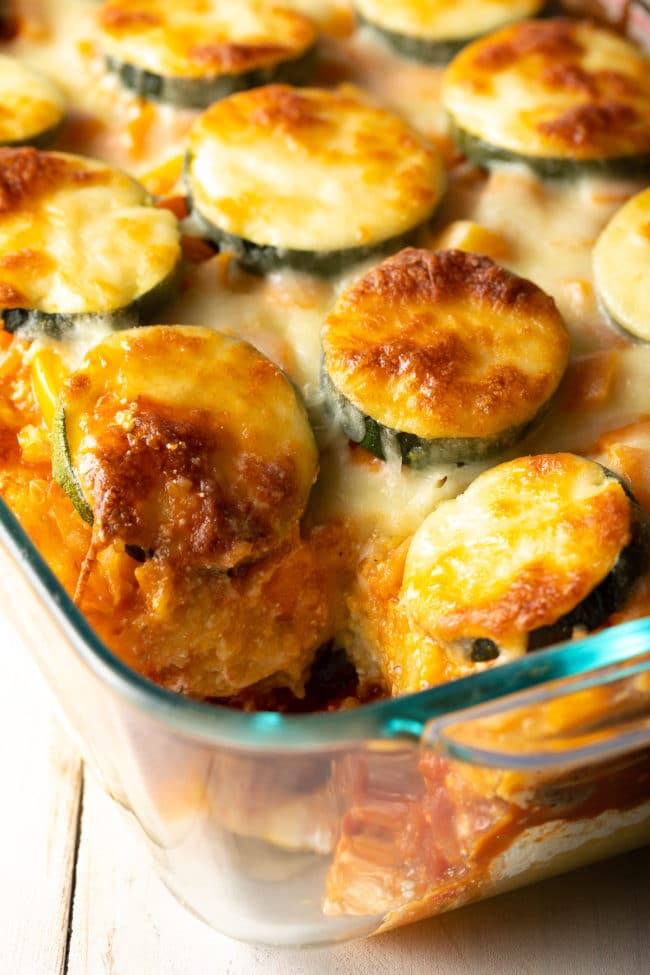 Baked Polenta Casserole Recipe + Mushrooms, Tomatoes, Zucchini, and Ricotta! (Gluten Free) #ASpicyPerspective #glutenfree #polenta #lasagna #ricotta #vegetarian #healthy